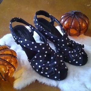 Black and White polka dot heels